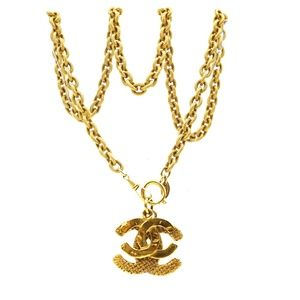 Cc Double Woven Textured Charms Chain Necklace